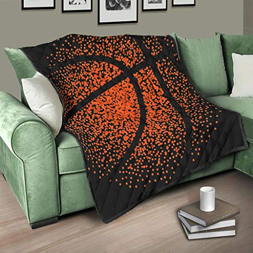 AXGM Tagesdecke Quilt Ball Basketball Orange Schwarz Steppdecke Wohndecke Kuscheldecke 3D Digital Couch White 150x200cm