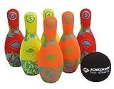 Juego Bowling de Neopreno, 6 Conos (21,5 cm), 1 Bola (Ø9 cm), en un Bolsillo de Malla...