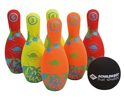 Schildkröt Funsports Schildkröt Neopren Bowling, 6 (21, 5cm), 1 Ball (Ø9cm), Im Kartonträger mit Meshbag, Kinderkegeln, 970227 Kegel Set, Mehrfarbig