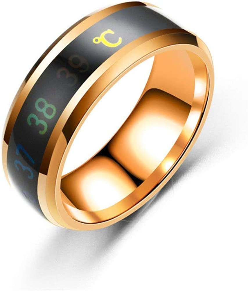Blowin Creative Mood Rings Stainless Steel Color Change Emotion Sense Intelligent Temperature Ring Celsius Smart Wedding Band