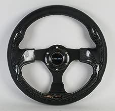 NRG Steering Wheel - 01 (Pilota) - 320mm (12.60 inches) - Black Leather with Black Spokes/Carbon Fiber Look Trim - Part # ST-001R-CBL