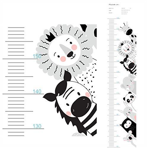 greenluup beschreibbare Messlatte Wandsticker Dschungel Tiere Giraffe Löwe Elefant Wachstumsdiagramm Kind Kinderzimmer (Schwarz Weiß Motiv 3)