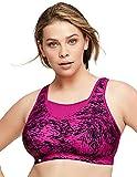 Glamorise Damen Elite Performance Full Figure Wirefree Camisole Plus Size Back Close Bra #1067 Sport-BH, Fuchsia Print, 105G