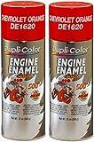 Dupli-Color DE1620 Chevrolet Orange Engine Enamel with Ceramic 12 oz. Aerosol (2 Pack)