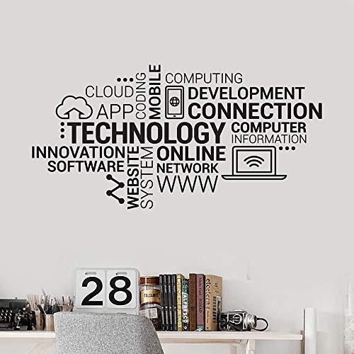 QIEGAO Technologie Buchstaben Vinyl Wandtattoo Unternehmen Internet Innovation Wörter Cloud Office Wandaufkleber Moderne Wohnkultur-52x102cm