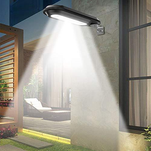 Yiwa Wandlamp met 18 leds, zonnelamp, voor tuinhek, buiten, zwart/wit licht