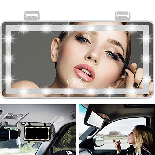 MUSJOS Espejo vanidad Visera automóvil, Espejo Maquillaje para automóvil con 4 Modos luz actualización 60 Luces LED, Espejo Visera Regulable Pantalla táctil Inteligente (White)