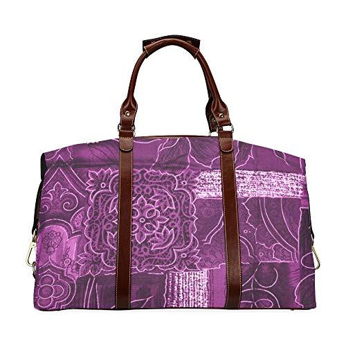 Bolso de Lona de Gimnasio para Hombre Patchwork Flores Magenta Tela púrpura Clásico de Gran tamaño Impermeable PU Cuero Moderno Bolsos de Mujer Bolso de Lona clásico