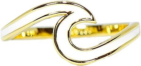 Pura Vida Silver or Gold Enamel Wave Ring, Brass Base Band - Rhodium Plating, Sizes 5-9