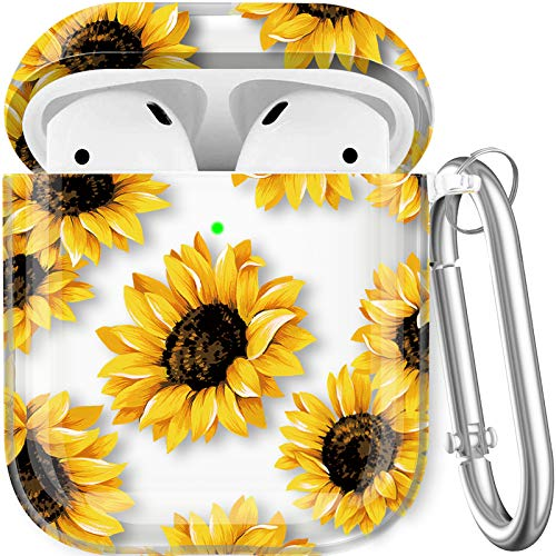 Maxjoy Compatible AirPods Case Cover, Floral Case Cute Hard Protective Case Shockproof Cover with Keychain Compatible with Apple AirPods Charging Case 2&1 for Girls Boys Women Men, Sunflower Clear