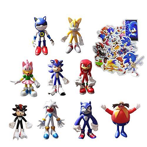 Sonic Figure Toys 9pcs/Set Enviar 100 Sonic Pegatinas Sonic El erizo y amigos muñeca muñeca nudillos
