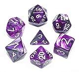 HD DICE DND RPG Juego de dados poliédricos para mazmorras y dragones D&D Pathfinder MTG Juego de rol dados (púrpura y gris)