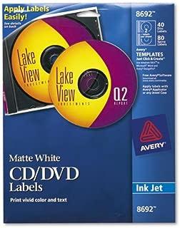 Avery 8692 CD Labels, Inkjet Matte, 40/PK, White
