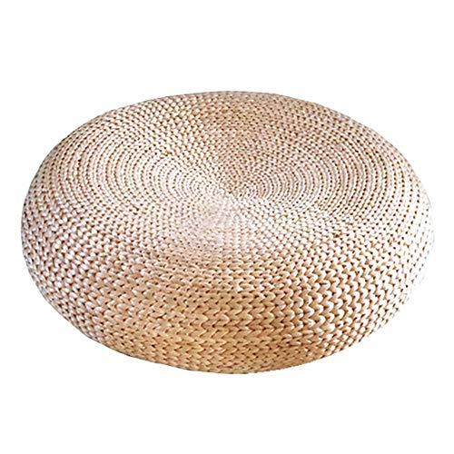 Hocker Weben Dicke Rattan Kissen Hause Multifunktionalen Runden Hocker Mode Dekorativen Schritt Hocker WEIYV (Farbe : Wood-Color, größe : 50 * 17cm)