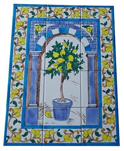 Zitronenbaum Fliesenbild Handbemalte Keramik Fliesen Wandfliesen 45x60 Zitronen Bodenfliesen Mosaikfliesen
