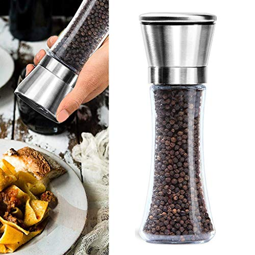 Getko with device Premium Stainless Steel Salt and Pepper Grinder Tall Salt and Pepper Mill Shakers with Adjustable Coarseness (Pack of 1)