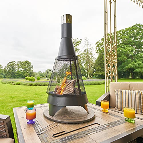 SA Products Chiminea for Garden - Metal Outdoor Patio Heater with Poker, 360 Firepit Bowl View, Spark Guard, Firewood Storage, Log Grate - Modern Contemporary Outdoor Fireplace for Balcony, Campsite
