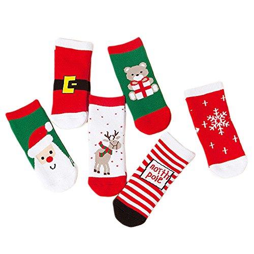 Vococal 6 Paires de Chaussettes pour Bebes, 100% Coton Chaussettes de Noël pour Bebes Unisexe Garçon et Fille(Size S,1~3ans)