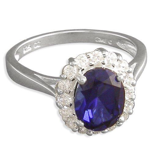 Saphir & Diamant CZ Sterling Silber Verlobungsring Ring–Medium Replica Kate Middleton Prinzessin Diana. Gr. L-S erhältlich