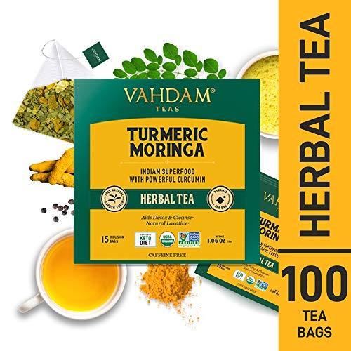 VAHDAM, Kurkuma + Moringa SUPERFOOD Kräutertee, 100 Anzahl | Indiens alte Medizin-Mischung der Gelbwurz Garten-frischen Gewürze | Kurkuma Teebeutel | Moringa Tee | Entgiftungstee | Kräutertee