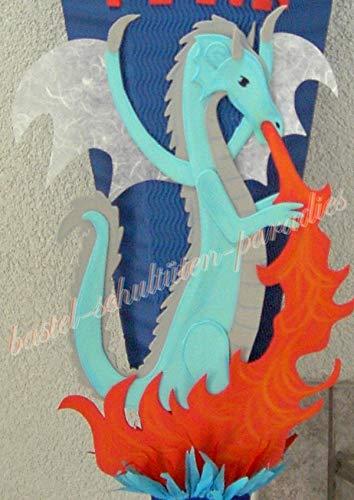 Generisch Bastelanleitung feuerspeiender Drache hellblau (nur Motiv)