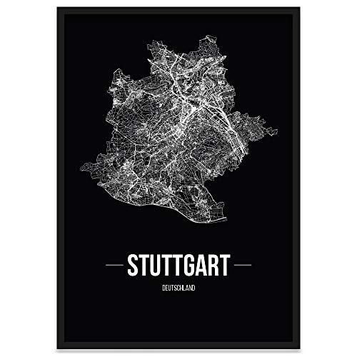 JUNIWORDS Stadtposter, Stuttgart, Wähle eine Größe, 21 x 30 cm, Poster mit Rahmen, Schrift B, Schwarz