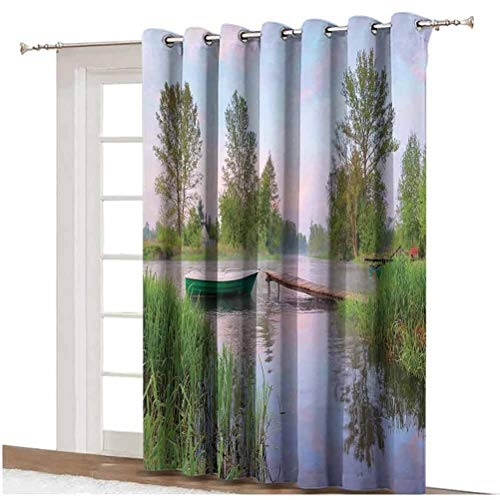 Landscape Sliding Door Curtain Rural Landscape Lakeside Boat Trees Grass Clouds and Boardwalk Countryside Thermal Backing Sliding Glass Door Drape ,Single Panel 80x108 inch,for Home Decor Green Blue B