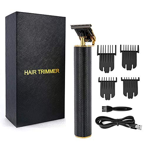 Electric Usb Rechargeable Pro Li Outliner Grooming Cordless Close Cutting T-Blade Trimmer for Men 0Mm Baldheaded Hair Clippers Zero Gapped Detail Beard Shaver Barbershop with 4 Guide Combs