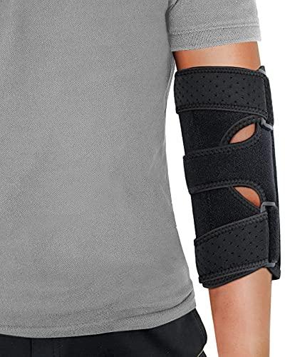Elbow Brace, Night Elbow Sleep Support, Comfortable Elbow Splint, Adjustable Stabilizer with 2 Removable Metal Splints for Cubital Tunnel Syndrome, Tendonitis, Ulnar Nerve, Tennis, Men, Women
