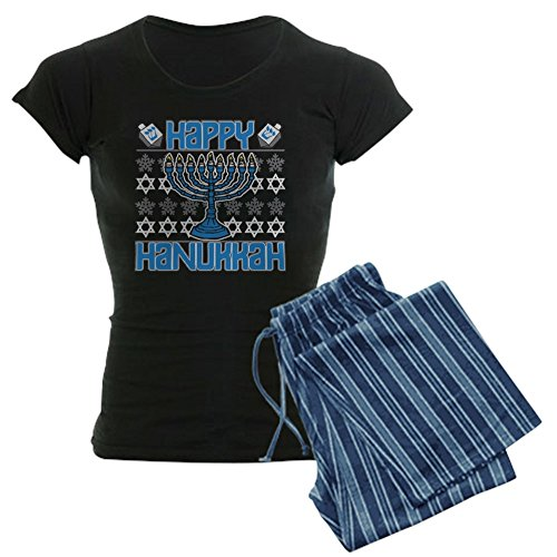 CafePress Happy Hanukkah Women's Dark Pajamas Womens Novelty Cotton Pajama Set, Comfortable PJ Sleepwear