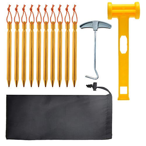 Unisun Tent Pegs Set, 10 Pcs Heavy Duty Metal Tent Pegs with Reflective Rope, Tent Stakes with Peg Puller, Hammer and Storage Bag, Suitable for Camping, Hiking, Beach and Outdoors