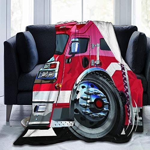 Manta de tiro personalizada,Camión de bomberos grande con equipos de emergencia Equipo de rescate de seguridad universal Motor de dibujos animados,Manta de felpa suave para sofá,viaje,manta 50'X60'