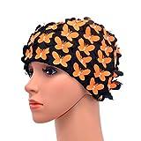 Medifier Gorro de natación vintage con diseño de pétalo floral, estilo retro, para mujer, color naranja