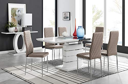 Renato Modern White Grey High Gloss Chrome Large Extending Dining Table And 6 8 Stylish Contemporary Lorenzo Dining Kitchen Chairs Set (Dining Table + Cappuccino Grey Milan Chairs, Table + 6 Chairs)