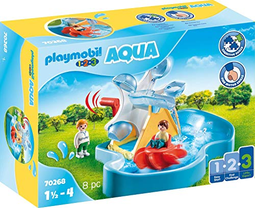 PLAYMOBIL-1.2.3 Aqua 70268 Wasserrad mit Karussell, Ab 1,5 bis 4 Jahre
