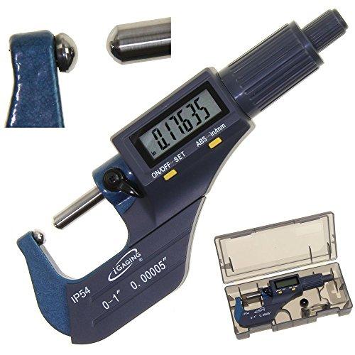 iGaging Tube Micrometer Dual Ball Anvil Digital Electronic Micrometer w/Large Display Inch/Metric 0-1