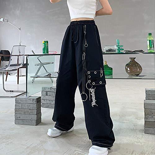 Dongwall Jogginghose Hip Hop Damen Workwear Fashion Pants Weiß LäSsig Gestickte Hose Mit Weitem Bein Kette Lose Hose L Schwarz