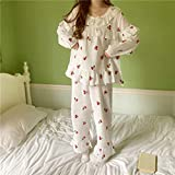 UXZDX Las mujeres dulces pijamas trajes de manga larga volantes ropa de dormir de moda suelta fresco pantalones largos