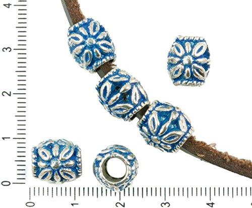 4pcs Antique Silver Tone Blue Patina Wash Large Hole Drum European Pandora Style Flower Charms Beads Bohemian Metal Findings 11mm x 10mm