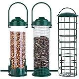 Chilits 3 comederos de pájaros de metal con ganchos de acero, resistentes a la intemperie y al agua para atraer pájaros