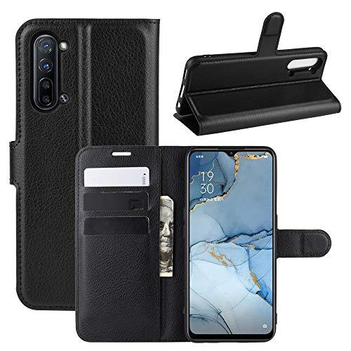 Fertuo Hülle für Oppo Find X2 Lite, Handyhülle Leder Flip Hülle Tasche mit Standfunktion, Kartenfach, Magnetschnalle, Silikon Bumper Schutzhülle Cover für Oppo Find X2 Lite, Schwarz