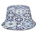 Yoliveya Sombrero de Pesca,Vintage Patrones Sin Fisuras Estilo Portugal Azulejo,Senderismo para Hombres y Mujeres al Aire Libre Sombrero de Cubo...