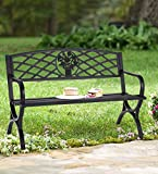 50' Patio Garden Bench - Outdoor 2-Person Metal Seating Cast Iron Loveseats Park Yard Furniture Decor with Floral Pattern