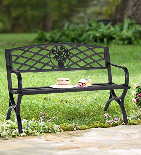 "50"" Patio Garden Bench - Outdoor 2-Person Metal Seating Cast Iron Loveseats Park Yard Furniture Decor with Floral Pattern"