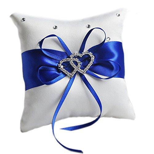 Outflower Double-Heart Strass Hochzeit Ring Kissen der 10 x 10 cm (lila) blau