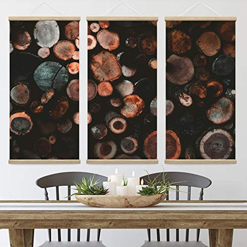 """Bestdeal Depot 3 Panel Hanging Poster Wood Panel Patterns Canvas Prints Wall Art for Living Room, Bedroom Ready to Hang - 18""""x36""""x3 Panels"""