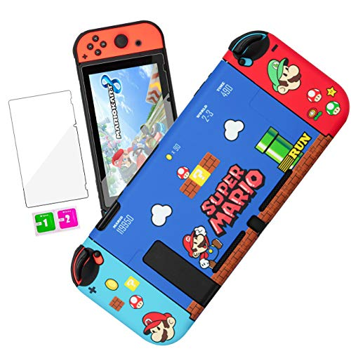 oqpa for Nintendo Switch Case Cute Kawaii Cartoon Design Cover, Fun Funny Fashion Cool Switch Game Shell for Girls Kids Women Screen Protector Glass + IMD Hard Cases for Nintendo Switch (Mario)
