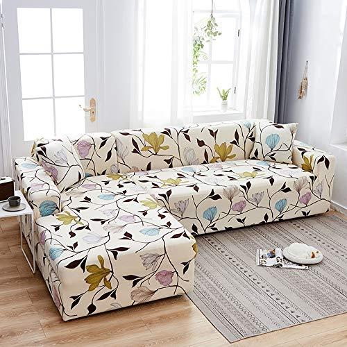 WXQY Funda de sofá con Estampado Floral, Esquina de Asiento, sofá Chaise Longue en Forma de L, Funda de sofá elástica, Funda de sillón A25, 3 plazas