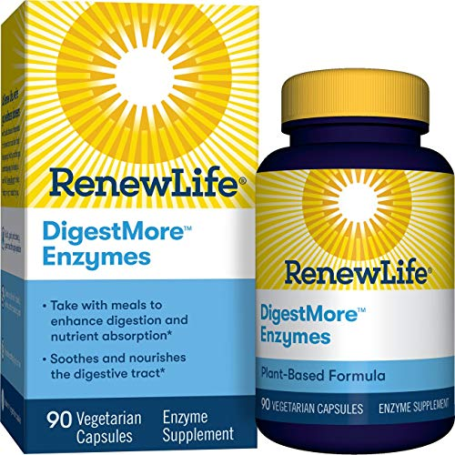 Renew Life Adult Digestive Enzyme - DigestMore Plant-Based Foods Enzyme Formula for Men & Women - 90 Vegetarian Capsules (Package May Vary)