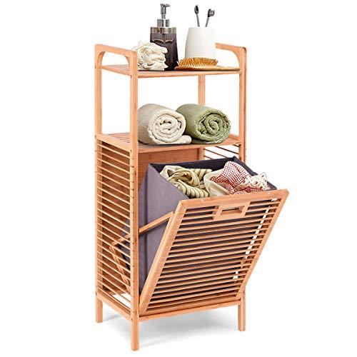 COSTWAY Estantería para Ducha de Bambú con Cesto de Ropa Sucia Mueble de Baño con 2 Estantes Abiertos para Almacenaje Organizador